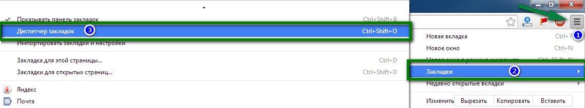 Функция сохранения закладок в Google Chrome