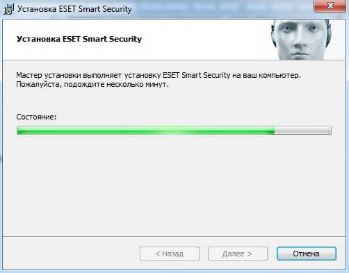 Нажав по ней, мы запустим процесс окончательной установки ESET NOD32 Smart Security на компьютер: