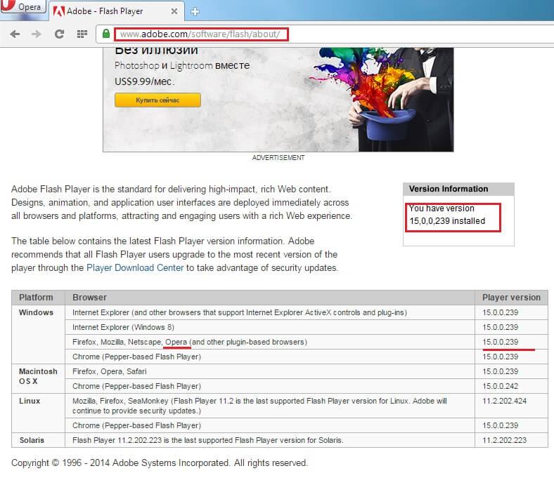 версия Flash Player и актуальная версия для браузера: