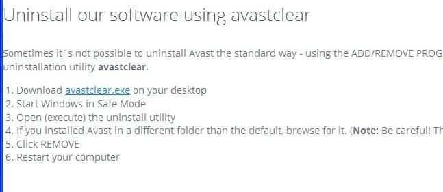 Найти программу для удаления антивируса aswclear.exe, нажать на ссылку: