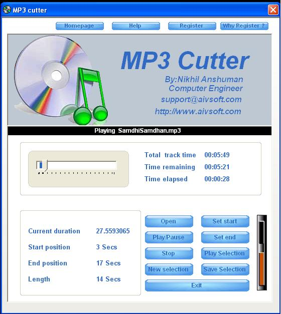 Прога для обрезки музыки Mp3 Cutter