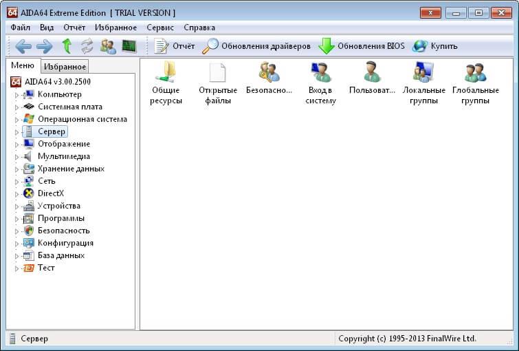 Данные сервера в Aida 64