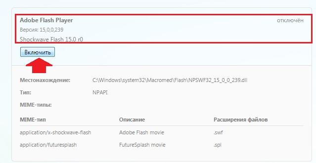 «Плагины», найти Adobe Flash Player и вместо кнопки «Отключить» нажать рядом с плагином «Включить»: