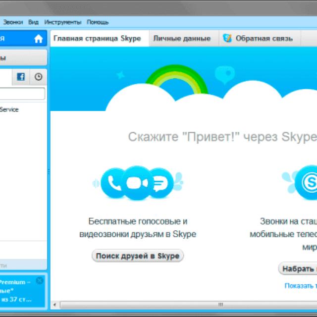Интерфейс программы Скайп