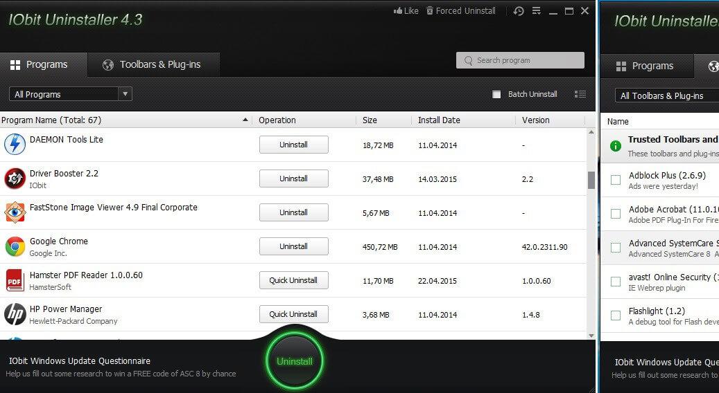 IObit Uninstaller удаление программ