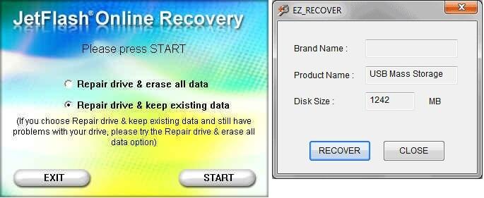 Форматирование в программе JetFlash Online Recovery