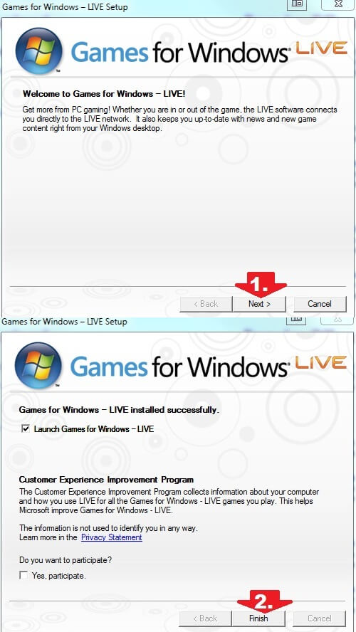 Установка Games for Windows live