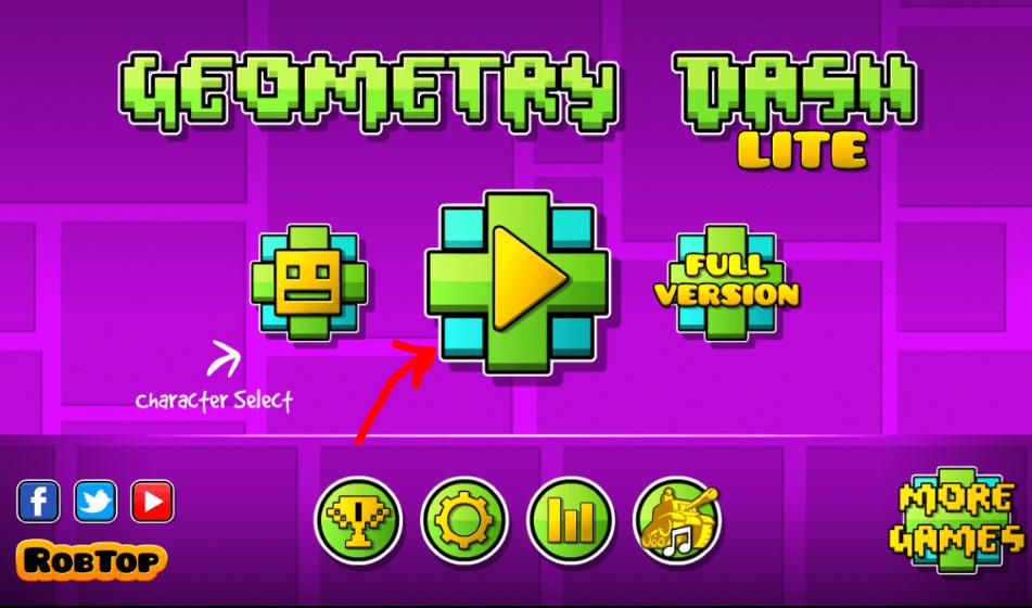 Окно Geometry Dash