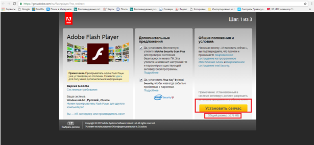 Устанавливаем Adobe Flash Player