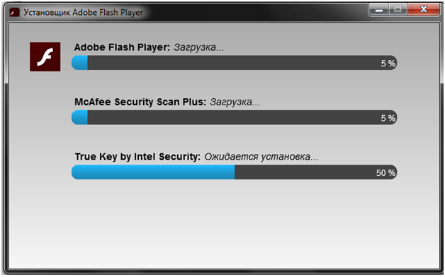 Установка Adobe Flash Player начата